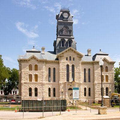 Granbury, Texas / USA - July 25 2010: Hood County Courthouse during renovation.